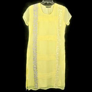 Feminista Yellow Embroidered Dress